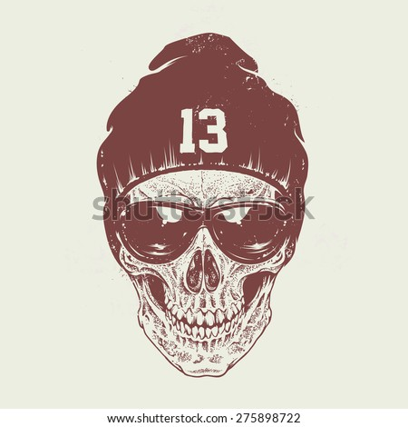Dotwork style skull with sunglasses and hat. Vector art. - stock vector
