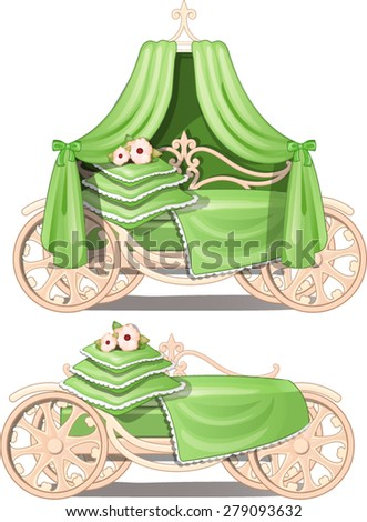 double bed in the form of a carriage - stock vector