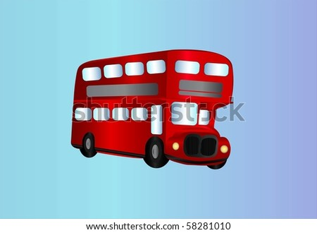 double decker bus ( background on separate layer ) - stock vector