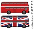 double decker bus in red and great britain flag color - stock vector