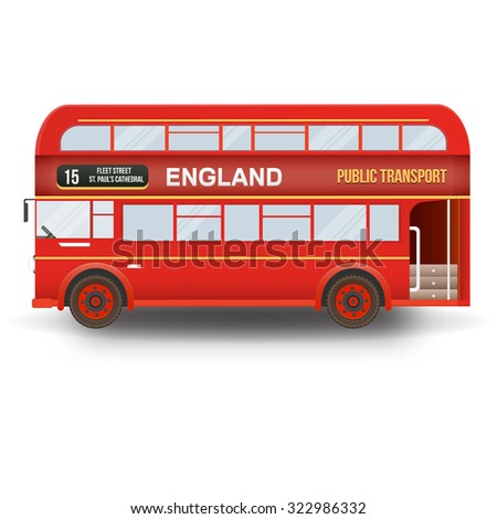 Double decker bus isolated in white background. England, United Kingdom. - stock vector