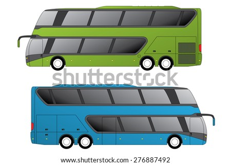 Double decker coaches side view on white