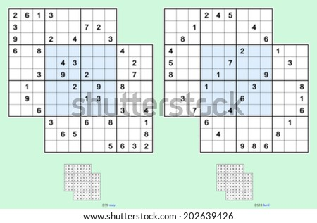 Double-doku, symmetrical. Two overlapping sudoku puzzles. Vector set. Easy and hard. 42, 32 clues. - stock vector