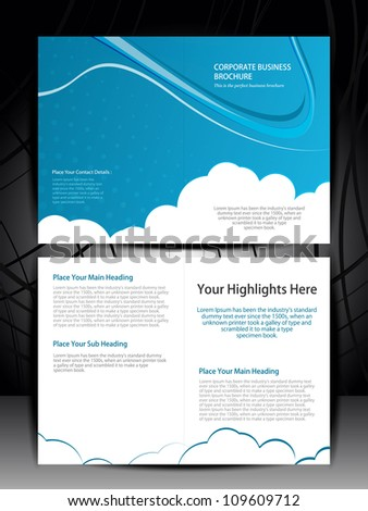 Double fold brochure design elemenr, vector illustartion.. Eps 10 - stock vector