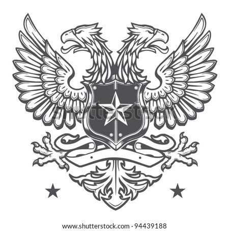 Double Headed Eagle Crest - stock vector