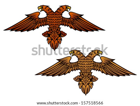 Double headed eagle for heraldry or mascot design or idea of logo. Jpeg version also available in gallery - stock vector