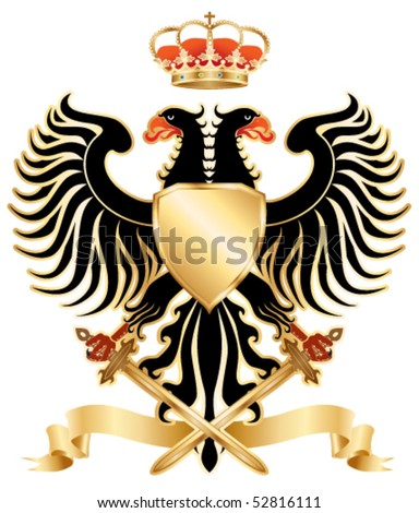 Double-headed eagle with crown and swords. Color vector version. - stock vector