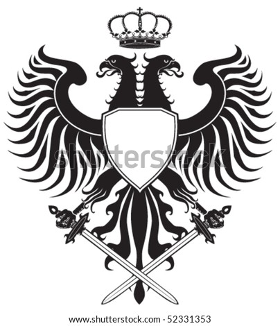 Double-headed eagle with crown and swords. Original eagle crest. Easy to handle, change colors etc. - stock vector
