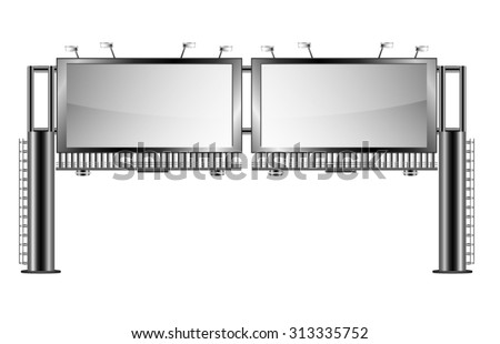 Double Highway Billboard isolated on white - stock vector