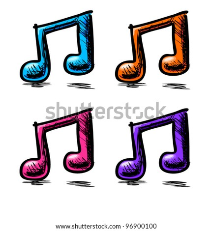 Double music note. Hand drawing cartoon sketch set in childish doodle style - stock vector