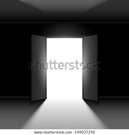 Double Open door with light. Illustration on black empty background - stock vector
