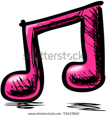 Double pink music note hand drawing cartoon sketch illustration in childish doodle style - stock vector