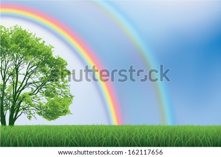 Double Rainbow over green field with tree - stock vector