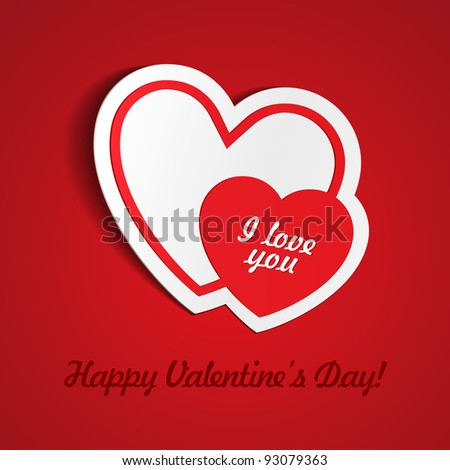 Double Red Heart Paper Sticker With Shadow Valentine's day vector illustration Postcard eps 10 - stock vector