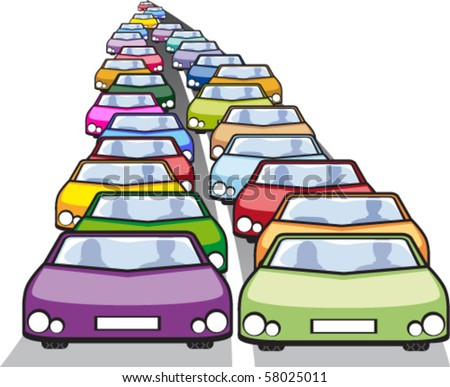 Double row of cars in traffic - stock vector