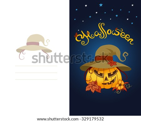 Double-side postcard Halloween. Pumpkin in the dark night with stars. Wearing hat with fall maple leaf. Various autumn leaves, flower of immature pumpkins, mustache, curls. Lettering/title - Hellowin - stock vector