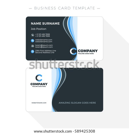 Doublesided business card template abstract blue stock vector 2018 double sided business card template with abstract blue and black waves background vector illustration fbccfo Choice Image