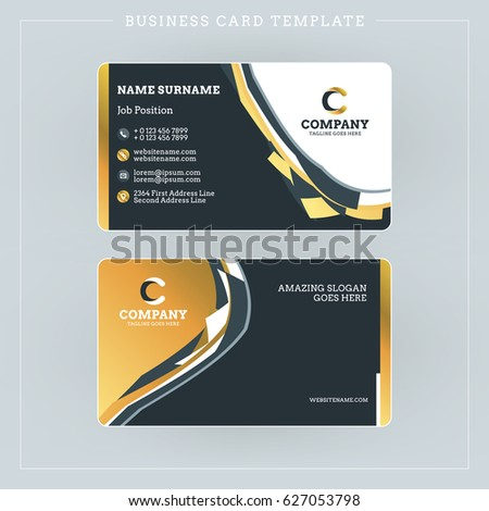 Doublesided Business Card Template Abstract Golden Stock Vector