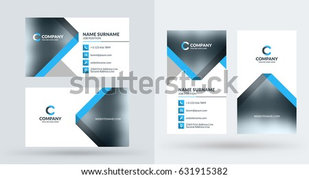 Doublesided creative business card template portrait stock vector double sided creative business card template portrait and landscape orientation horizontal and vertical wajeb Gallery