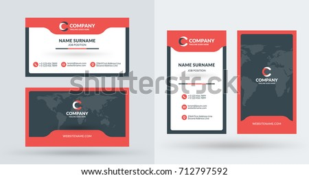 Doublesided creative business card template portrait stock vector double sided creative business card template portrait and landscape orientation horizontal and vertical accmission Gallery