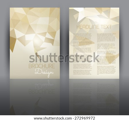 Double sided flyer template with a low poly design - stock vector