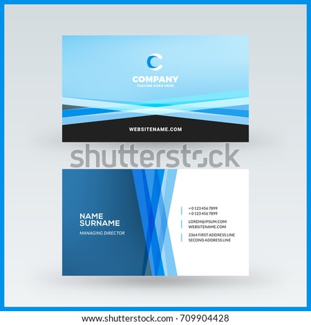 Doublesided horizontal business card template vector stock vector double sided horizontal business card template vector mockup illustration stationery design pronofoot35fo Images