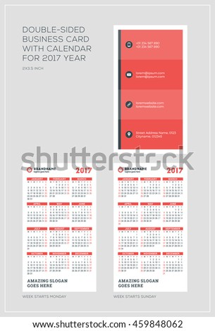 Doublesided vertical business card template calendar stock vector double sided vertical business card template with calendar for 2017 year week starts monday flashek Choice Image