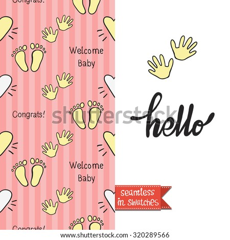 Double sided vintage greeting card for newborn baby girl shower party with inscription and congrats seamless pattern background and icon and lettering: hello. Seamless pattern in swatches - stock vector