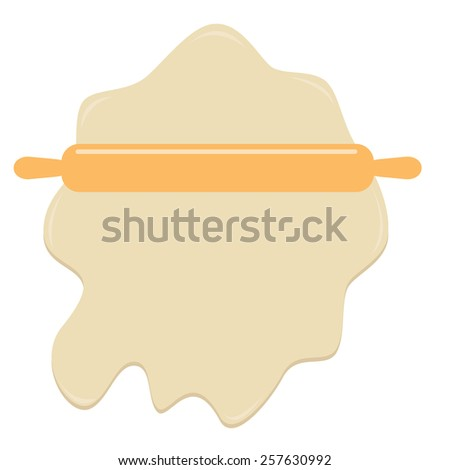 Dough and wooden rolling pin plunger bakery tool Flat design Template Vector illustration - stock vector
