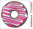 Doughnut with pink creme. Vector - stock vector