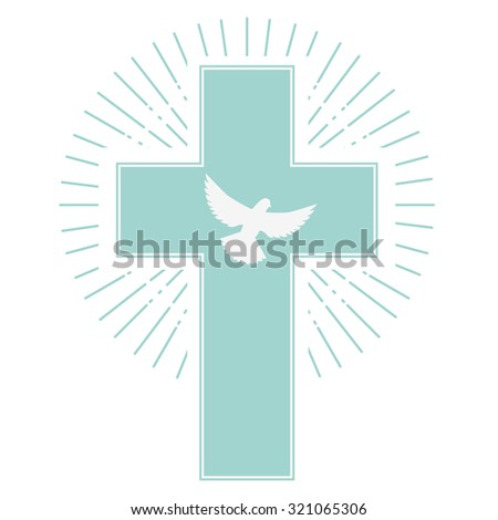 dove and a cross on a light olive background. the holy spirit. Religion. Vector illustration. - stock vector