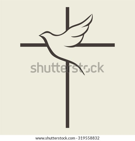 Dove and cross - stock vector