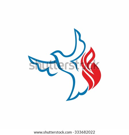 Dove Flame Symbol Holy Spirit Stock Vector Royalty Free 333682022