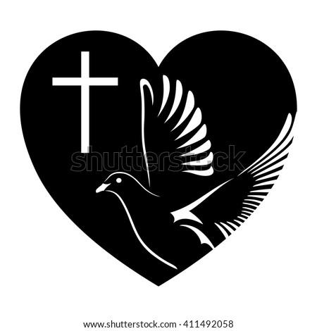 Dove Cross Heart Symbol Religion Vector Stock Vector