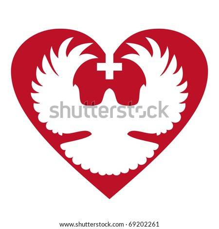Dove in heart with cross - stock vector