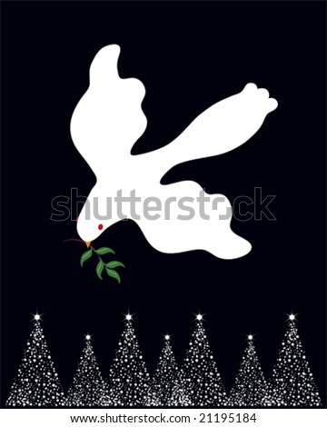 Dove of Peace carrying an olive branch over white Christmas trees. - stock vector