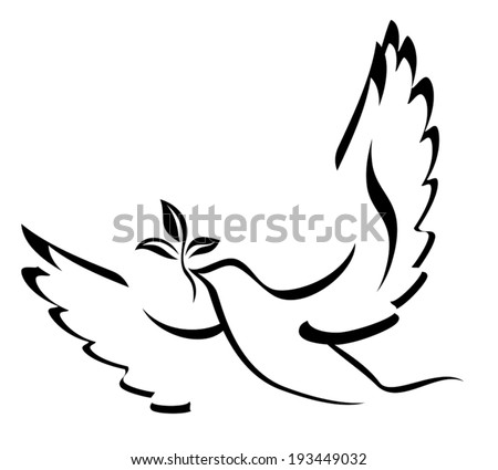 Dove Of Peace. Illustration with dove holding an olive branch symbolizing peace on earth. Hand drawn brushstroke dove. Ink painting style. Line art for logo and design. Vector illustration. - stock vector