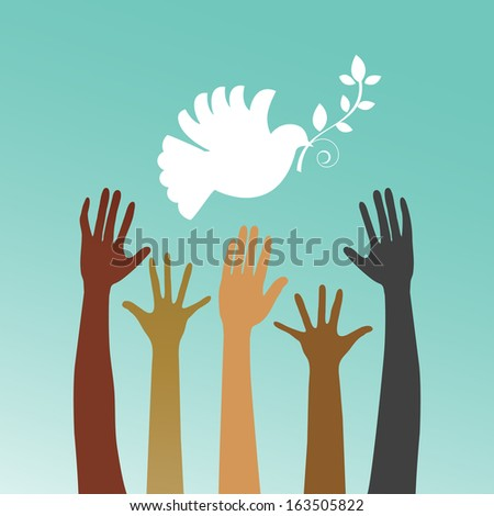 Dove of peace with multicultural hands  - stock vector
