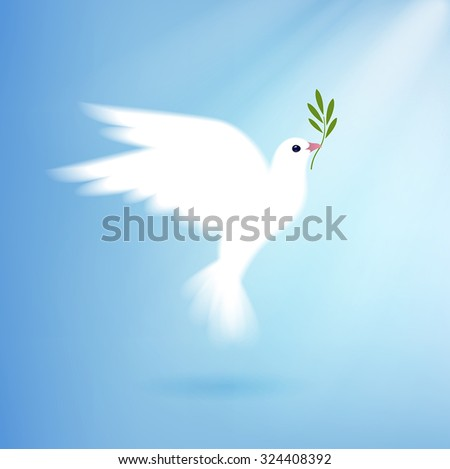 dove of peace with olive branch - stock vector