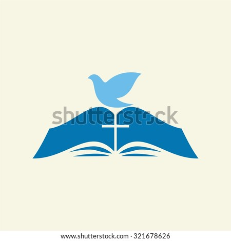 Dove on the pages of a Bible - stock vector