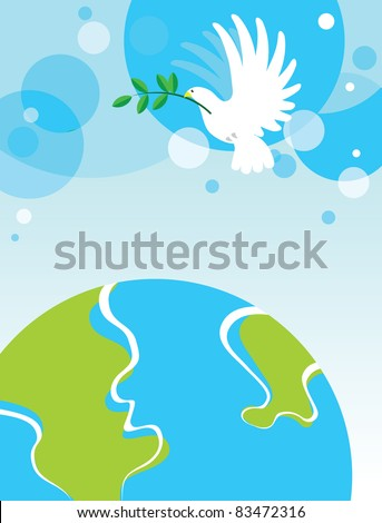 Dove over the World. White dove with an olive branch of peace over the world - stock vector