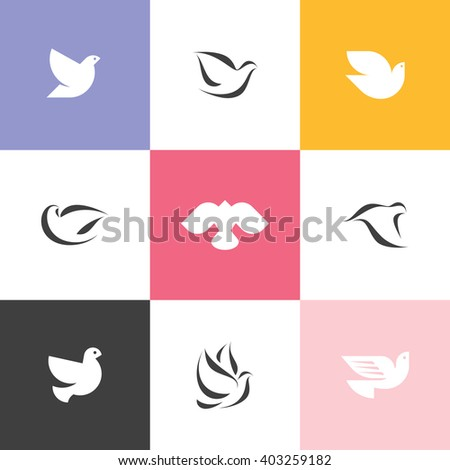 Dove. Set of elegant vector icons and logo templates - stock vector