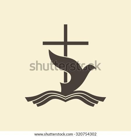 Dove, water, Bible, cross, icon - stock vector