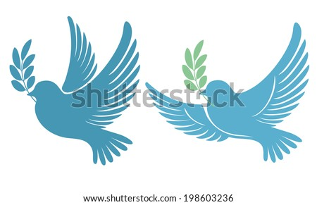 Dove with an olive branch - symbol of peace and hope - stock vector