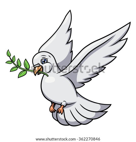 Dove with olive branch 2 - stock vector