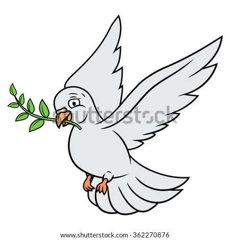 Dove with olive branch - stock vector