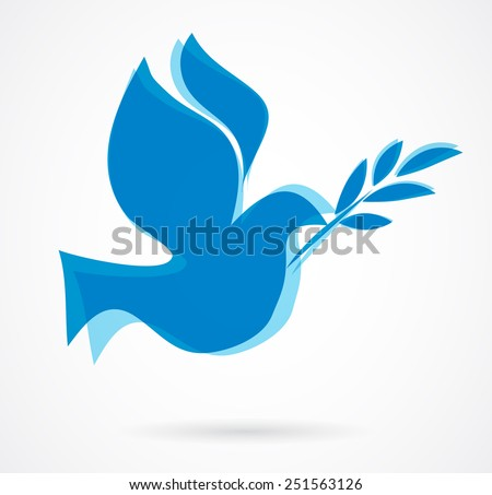 dove with the olive bench. vector illustration - stock vector