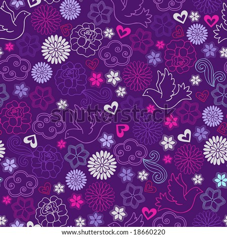 Doves and Flowers Seamless Repeat Pattern Vector Illustration - stock vector