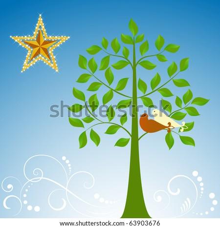 doves in a tree - Fleur De Lis tail - stock vector