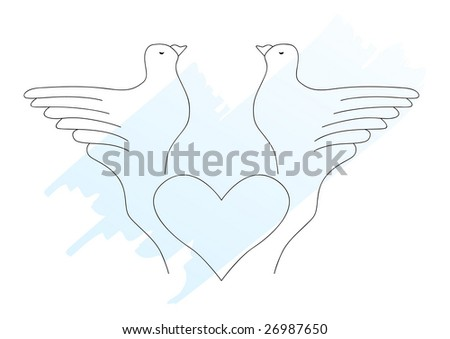 Doves. This is a vector image - you can simply edit colors